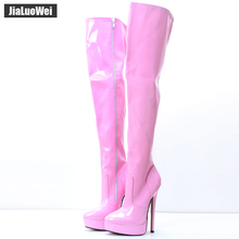 Jialuowei Extreme High Heel 18cm Boots Women Fashion Sexy fetish Over the Knee Boots Thin Heel Platform Leather Unisex Shoes