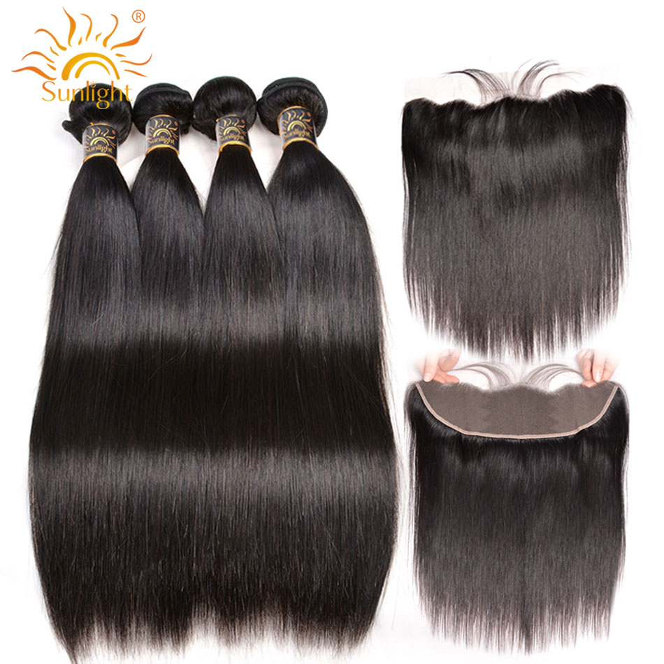 Brazilian Straight Hair 3 Bundles With Frontal Closure Sunlight Human Hair Weave Bundles With 13x4 Lace