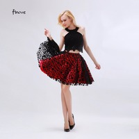 Black And Red Homecoming Dresses Polka Dots Tulle 2016 New Modern A Line Knee Length With