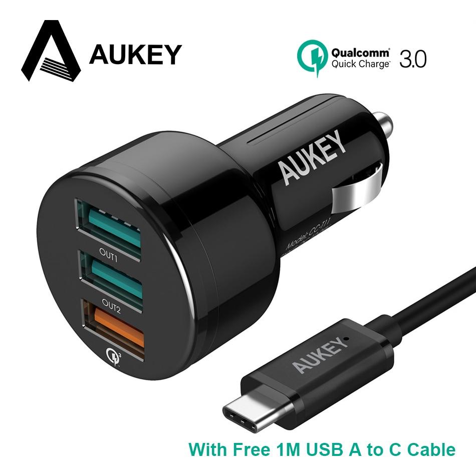 bilder für AUKEY 3-Port USB Car Charger Quick Charge 3,0 Auto-Ladegerät für Mobile telefon QC 3,0 2,0 Schnellladung für iPhone Xiaomi Galaxy S8
