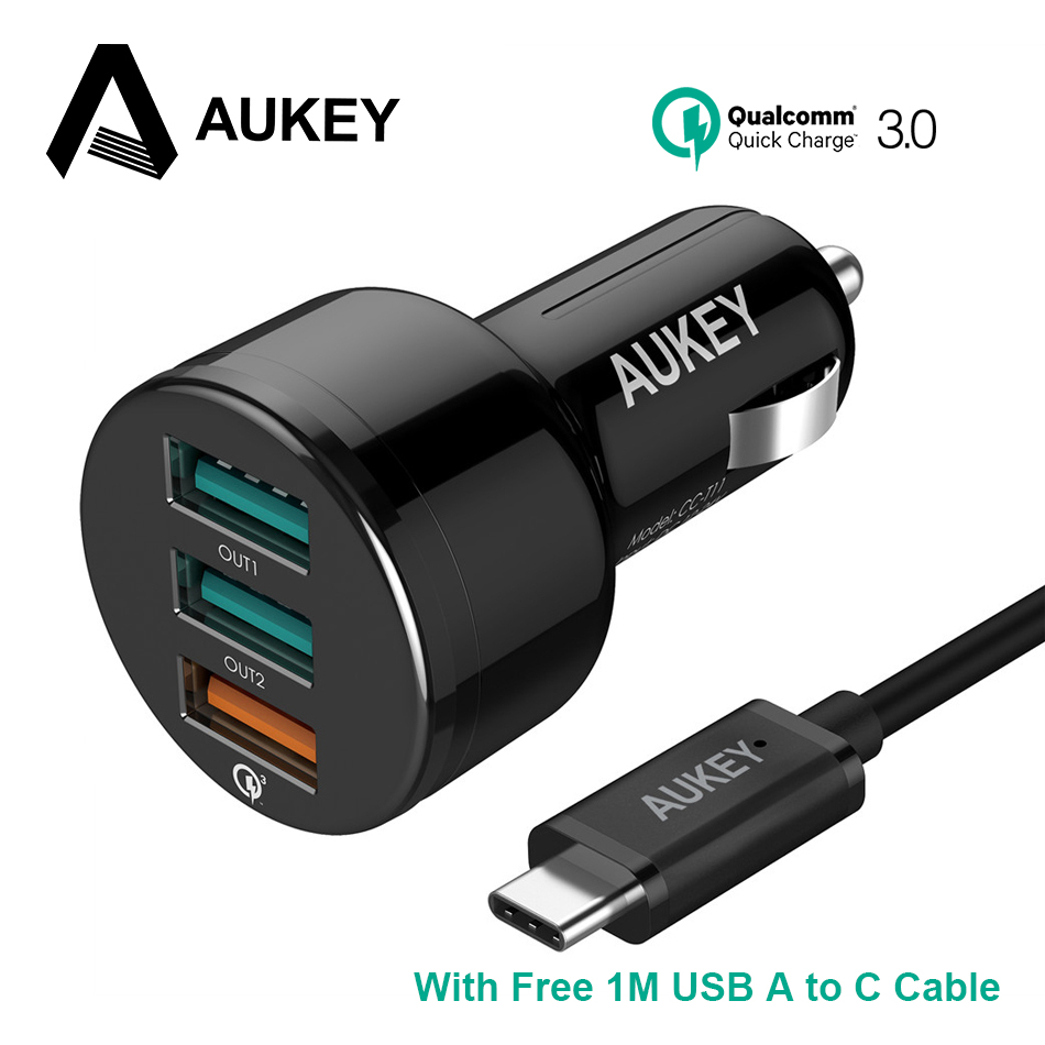 AUKEY Car Charger,Quick Charge 3.0 Car-Charger Fast Mobile Phone Usb Charger for iPhone 6/7/8/X Xiaomi mi5 Samsung Galaxy S8 etc