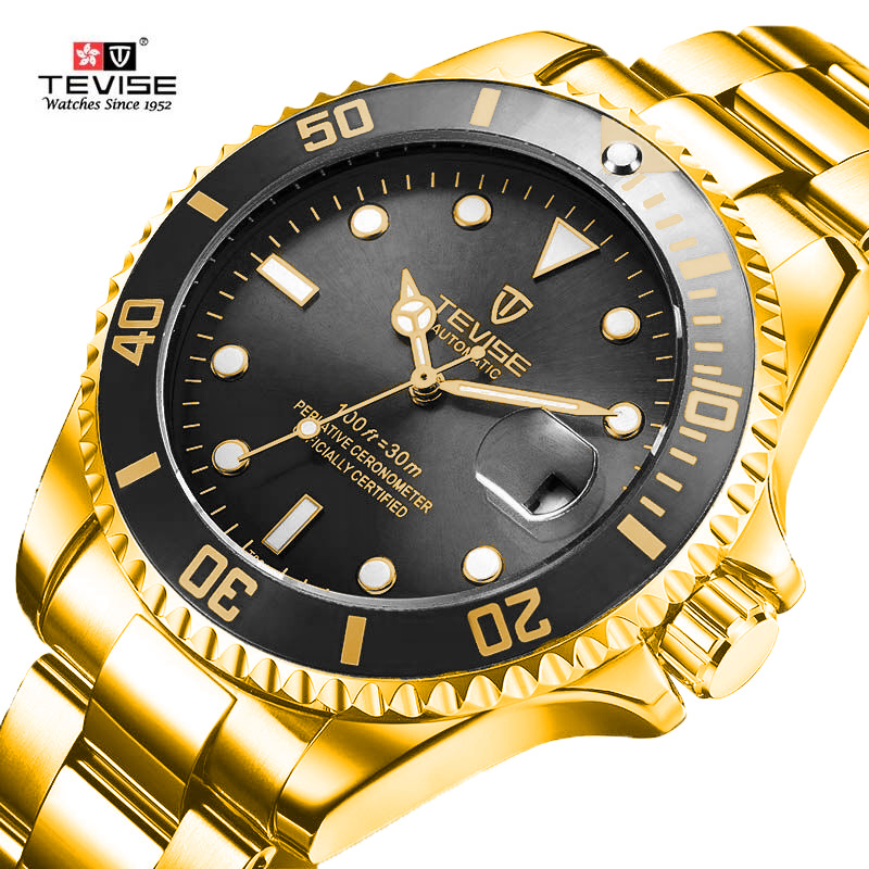 Tevise Top Brand Men Mechanical Watches Automatic Business Stainless steel Watch Fashione Luxury Gold Clock Relogio MasculinoTevise Top Brand Men Mechanical Watches Automatic Business Stainless steel Watch Fashione Luxury Gold Clock Relogio Masculino