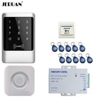 JERUAN Metal RFID Password Access Controller Touch key Waterproof Door control system kit +Doorbell+ Exit button + power