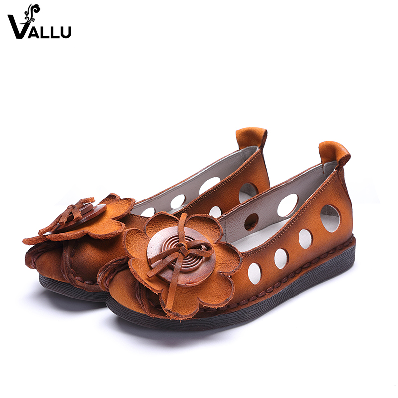 2018 Cut Out Shoes For Women New Arrival First Layer of Leather Lady Flower Flats Female Breathable Summer Cool Casual Flat Shoe haolida women s flats shoe embroidery fisherman female shoe 2018 spring summer women shoes cut out hollow out casual shoes