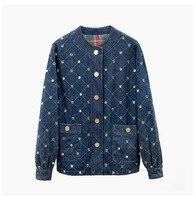 Европейский стиль бриллиантами Джинсовые куртки Новинка 2018 Осень/Зима Женская мода Argyle куртки D273