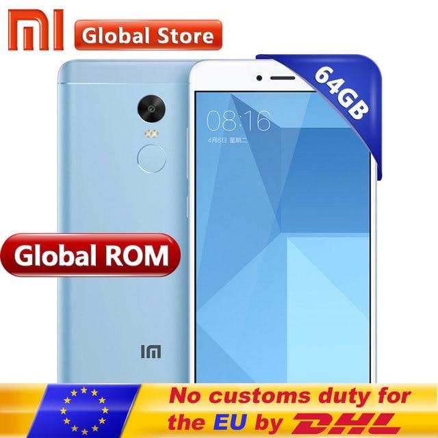 "Xiaomi Redmi Note 4x4x4 ГБ 64 ГБ Android мобильный телефон Snapdragon S625 Восьмиядерный Redmi Note4X 4100 мАч 13.0MP 5.5 ""1920*1080 FHD"