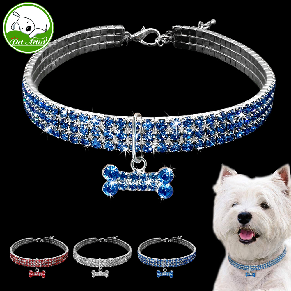 Rhinestone Puppy Dog Necklace Jeweled Crystal Kitten Cat Collar Bone Charm Pendant Accessory For Girl Dogs Cats Yorkshire Pink מסרק כינים