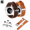 Retro Brown Genuine Leather Wrist Strap For Apple Watch Band for iWatch 1st 2nd Stainless Steel Adapters Replacement Watchband