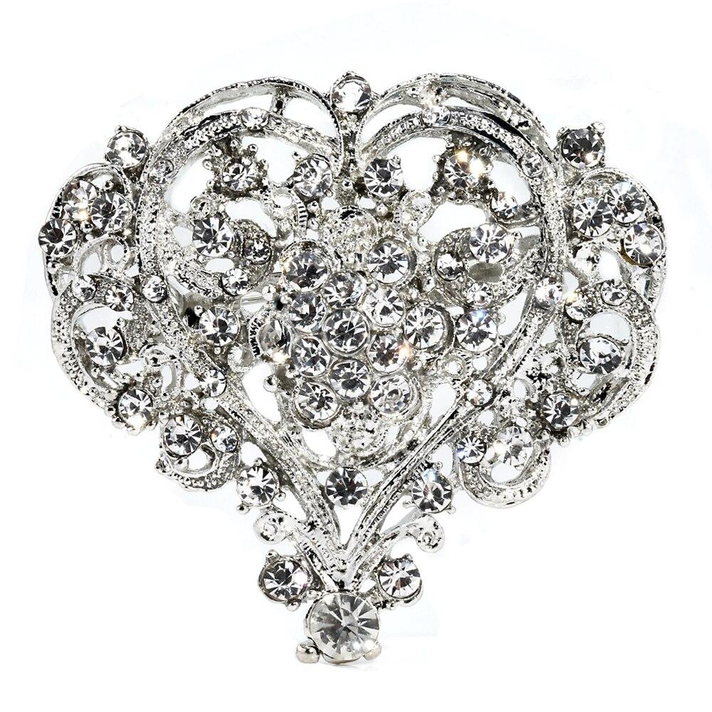 Hot Cute Heart Shape Lady Girl Rhinestone Brooch Huge Size Wedding Party Brooch Pin Women Jewelry Christmas Gift Beauty