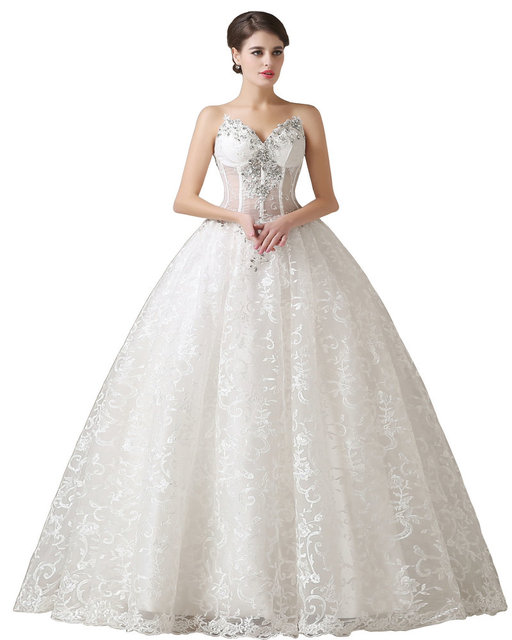 Real Model Sexy Corset Beading 2017 Wedding Dress Lace vestidos de noiva Ivory Ball Gown Wedding Gowns Sweetheart