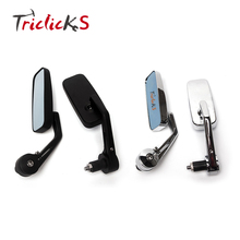 Triclicks Universal Black Chrome Rear View Mirrors Motorcycle CNC 7/8