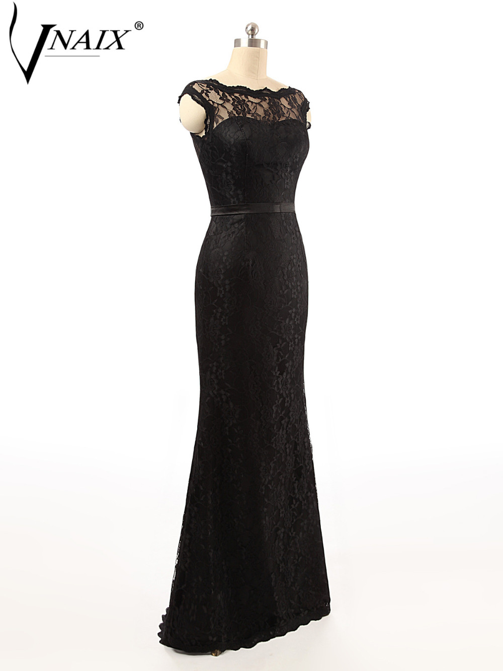 US $136.25  Vnaix B3010 Sweetheart Cap Sleeves See Though Lace Back A Line  Black Plus Size Bridesmaid Dress-in Bridesmaid Dresses from Weddings & ...