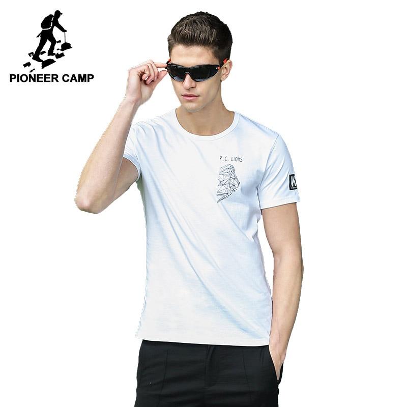Pioneer Camp New men T- shirt brand-clothing print T shirt male print slim fit short sleeve Tshirt black white ADT701104A