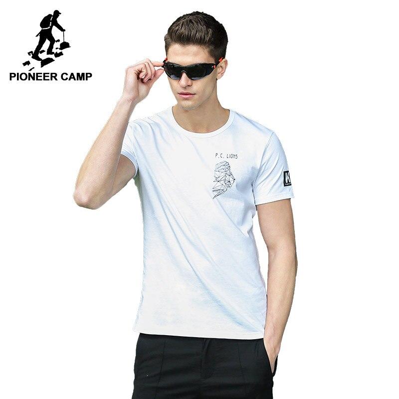 Pioneer Camp New men   T  -   shirt   brand-clothing print   T     shirt   male print slim fit short sleeve Tshirt black white ADT701104A