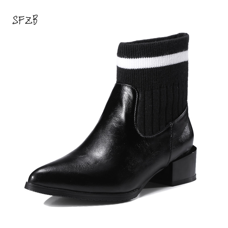 SFZB 2018 Fashion Ankle Sock Boots Chunky High Heels Stretch Women Autumn Sexy Booties Pointed Toe Women Size 10 11 12