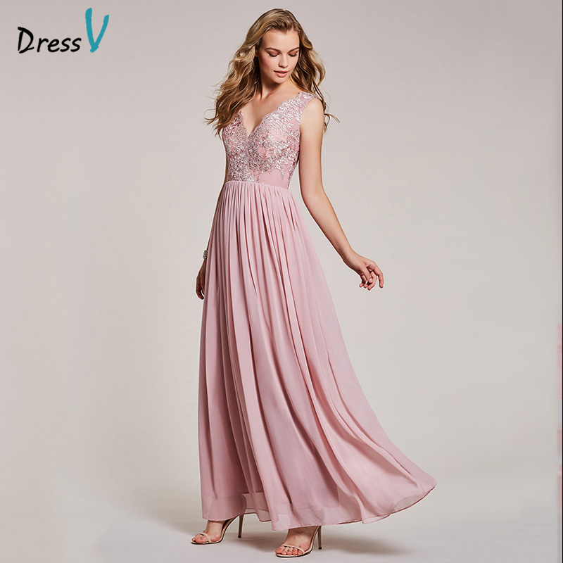 Dressv peal pink long   evening     dress   cheap v neck lace appliques a line wedding party formal   dress   chiffon   evening     dresses