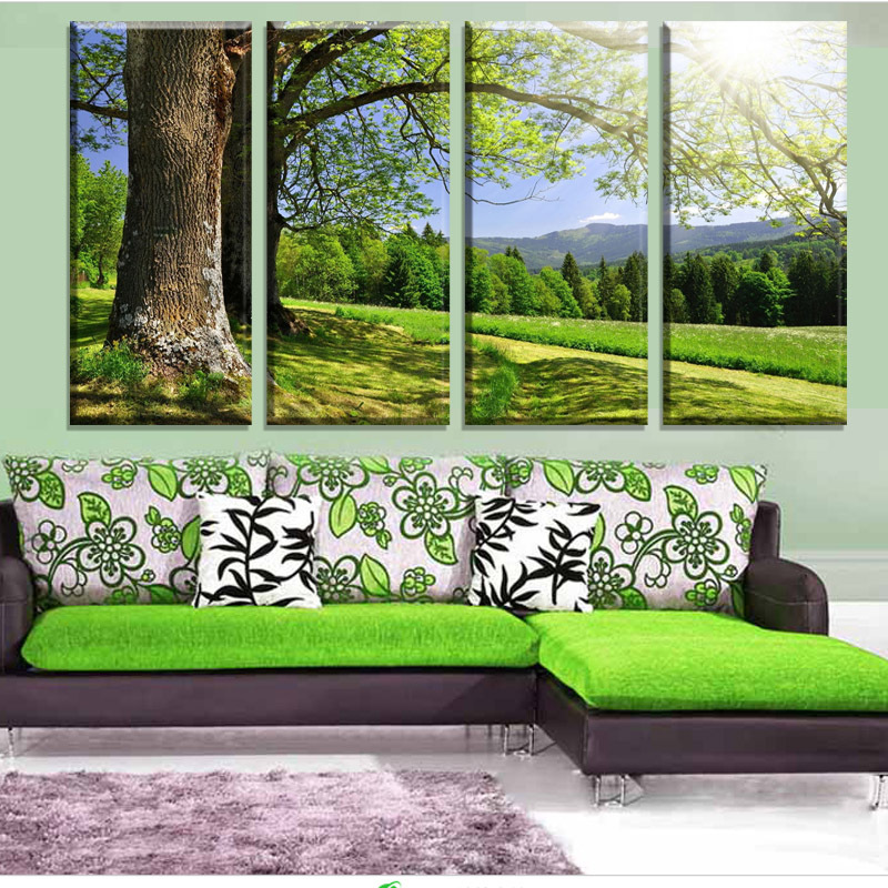4 Piece Hot Sell Green Tree Modern Canvas Pictures For