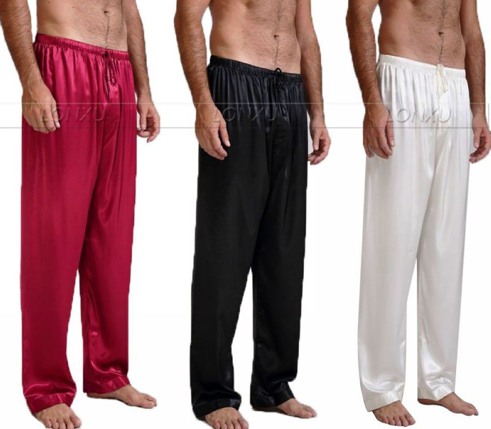 Mens-Silk-Satin-Pajamas-Pyjamas-Pants-Lounge-Pants-Sleep-Bottoms-Free-p-p-S-4XL-Plus
