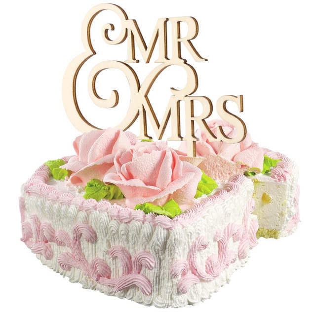 Romantic MR & MRS Letter Bride Groom Wood Wedding Cake Inserted