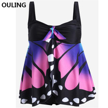 OULING Plus Size Bathing Suit Tankini Swimwear Women Push Up Monokini Big size Swimsuit 4XL Plus Bodysuit Beach Wear Summer цена 2017