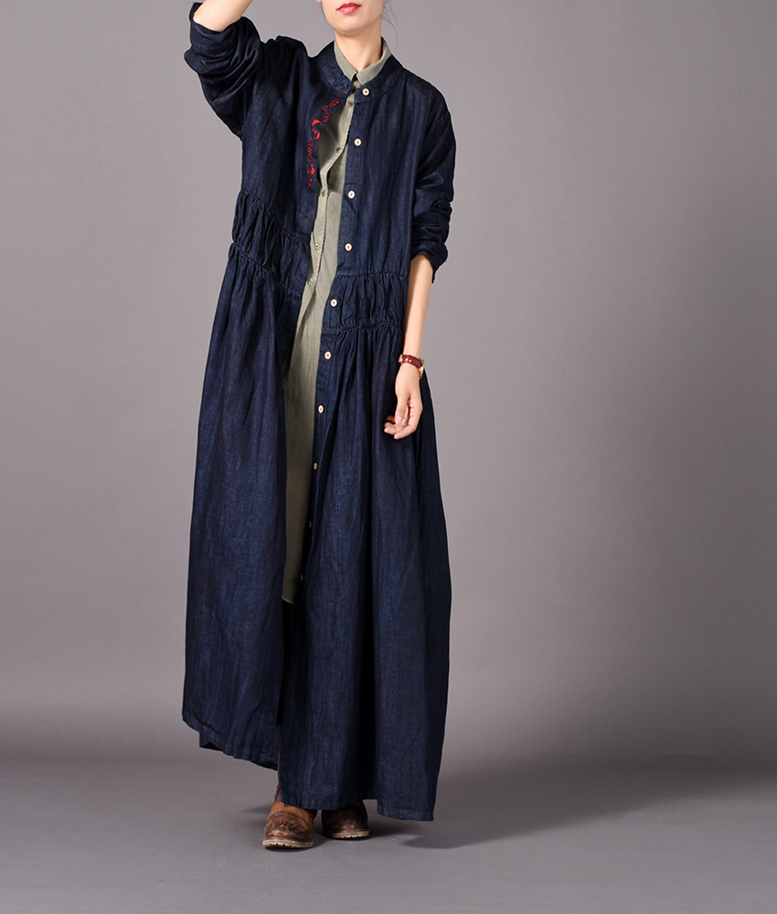 Women Autumn Denim Trench Coat Outwear Retro Embroidered Overcoat Female Vintage Single Breasted Long Coat 2018