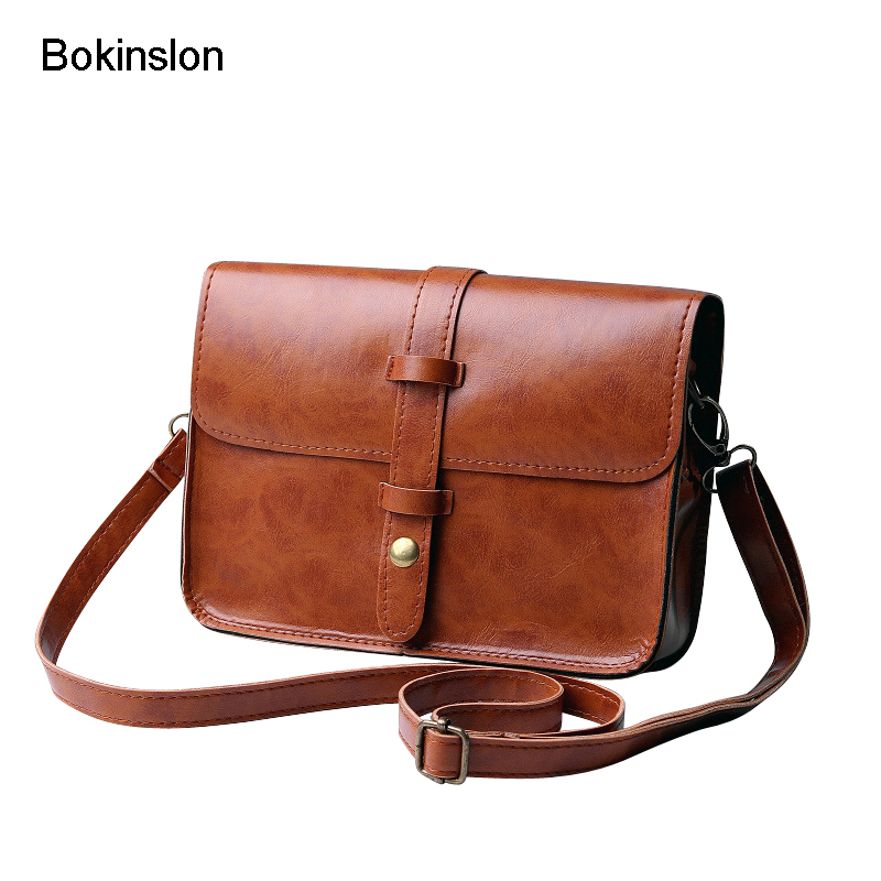 Bokinslon Female Crossbody Bag PU Leather Solid Color Handbags For Woman Popular Retro Women Brand Square Bag woman in the summer of 2016 youth popular color patent leather crocodile pillow boston crossbody bag business mini pochette