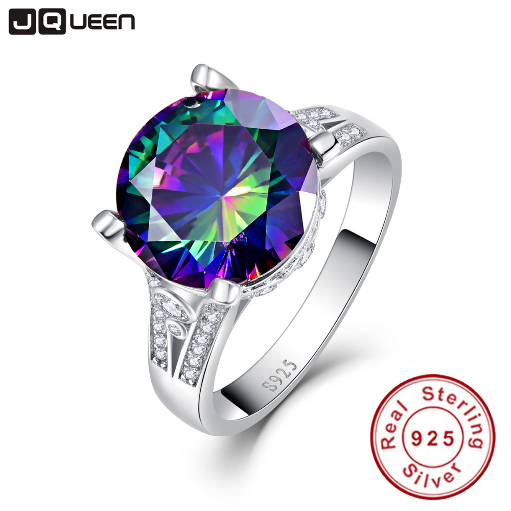 Rainbow Topaz Engagement Wedding Ring Set 925 Sterling Silver Rings For Women Band Wedding Rings Promise