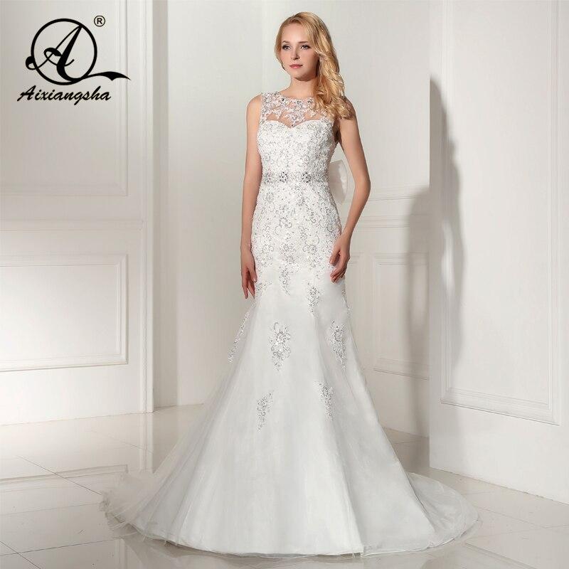 2018 Sleeveless Mermaid With Train Wedding Gowns Bridal Wedding Dress Bride Vestido de noiva Glormous Appliques Sashes Sequi