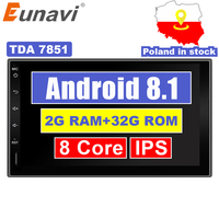 Eunavi 2 Din 7'' Android 7.1 8.1 Universal Car Radio Double din Stereo GPS Navigation In Dash Pc Video WIFI USB 2din BT