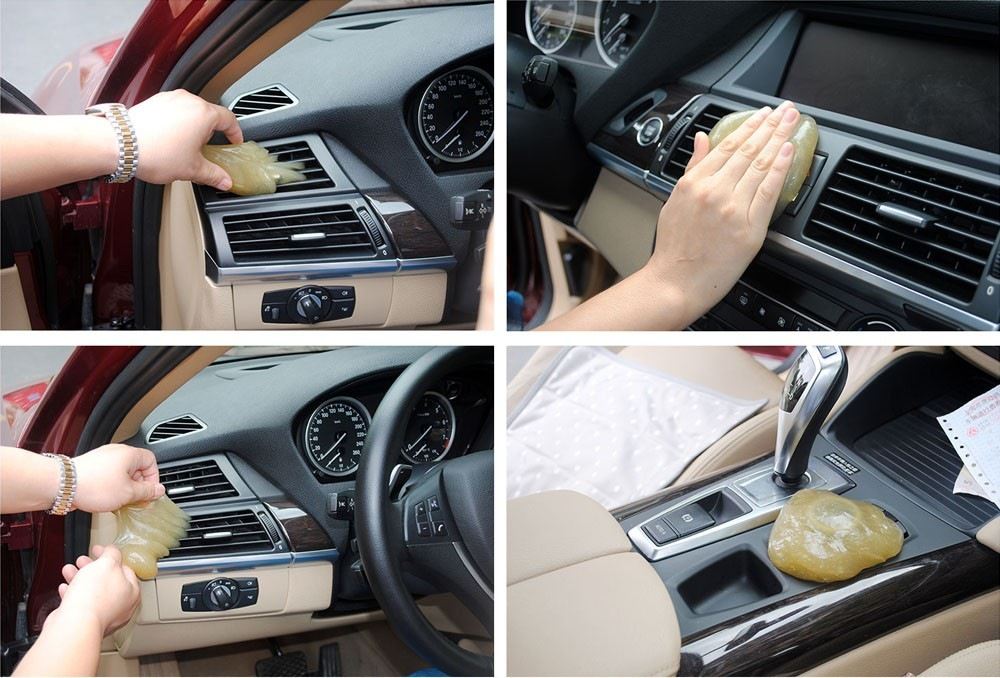Yellow Magic Car Vent Air Outlet Storage Box Panel Door Handle Dust Glue Cleaner Tool For Audi Q5 BMW F10 VW Golf Kia Rio Toyota
