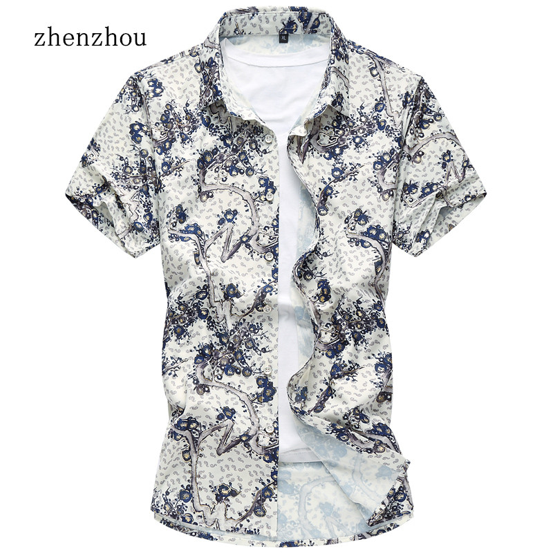 M 7XL New Red Blue Floral Short Sleeve Mens Shirts Male Clothes Social Casual Shirt Men