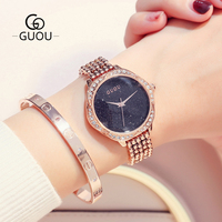 GUOU Watch Top Luxury Ladies Quartz Watch Star Rhinestone Dial Fashion Rose Gold Metal Bracelet Watches