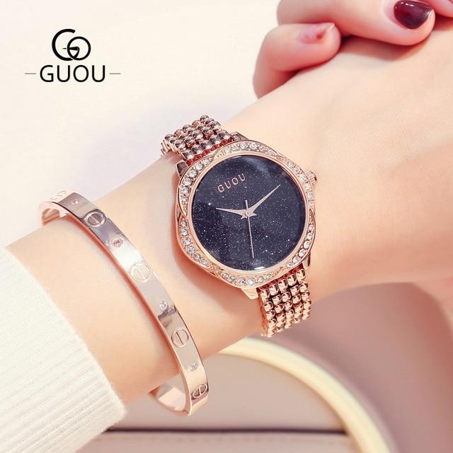 GUOU Watch Top Luxury Ladies Quartz Watch Star Rhinestone Dial Fashion Rose gold