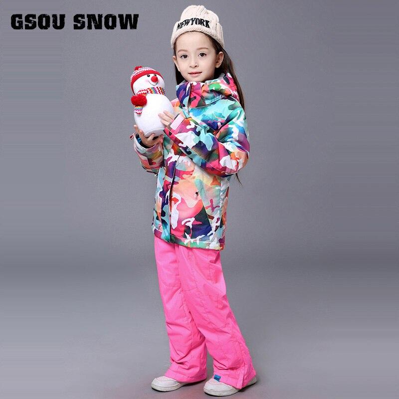 Gsou neige enfants Ski costume coupe-vent imperméable à l'eau en plein air Sport porter Ski Snowboard veste pantalon enfants fille manteau pantalon costume ensemble