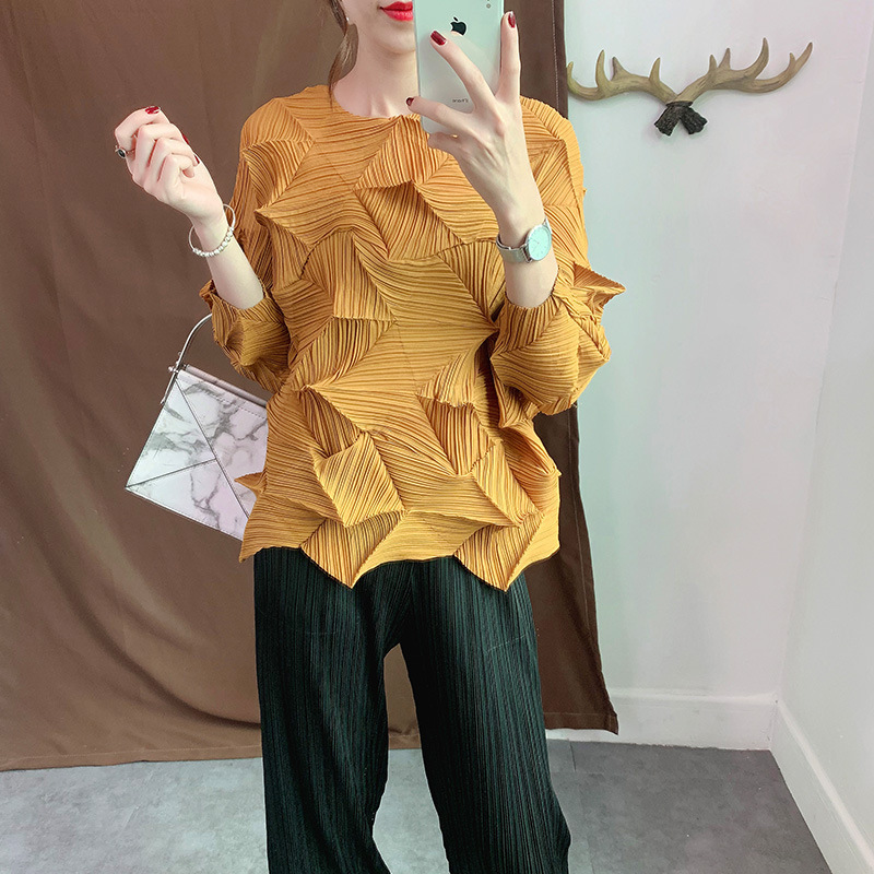 LANMREM 2019 Antumn New Casual Fashion Women Loose Plua Solid Color Pleated Shirt Seven-point Sleeve TC088