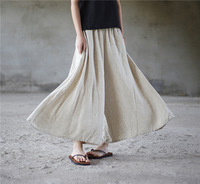 2018 New Cotton Soft Wide Leg Women Pants Elastic Waist Ankle Length Solid Linen Summer Loose Pantalon Large Causal Trouser