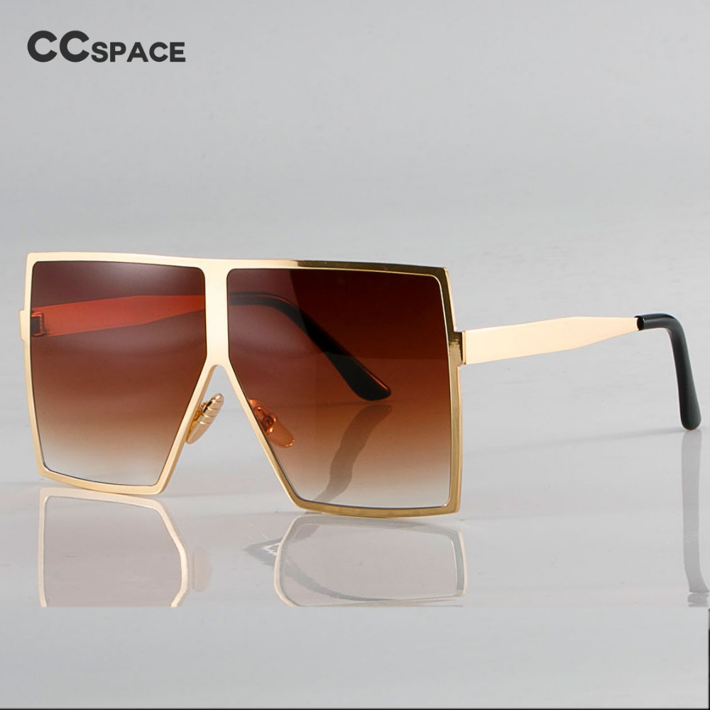 Bling Gold Oversized Square Sunglasses For Women Metal Frame Brown Shades CCSPACE Vintage 2018 Brand Glasses Fashion Oculo UV400