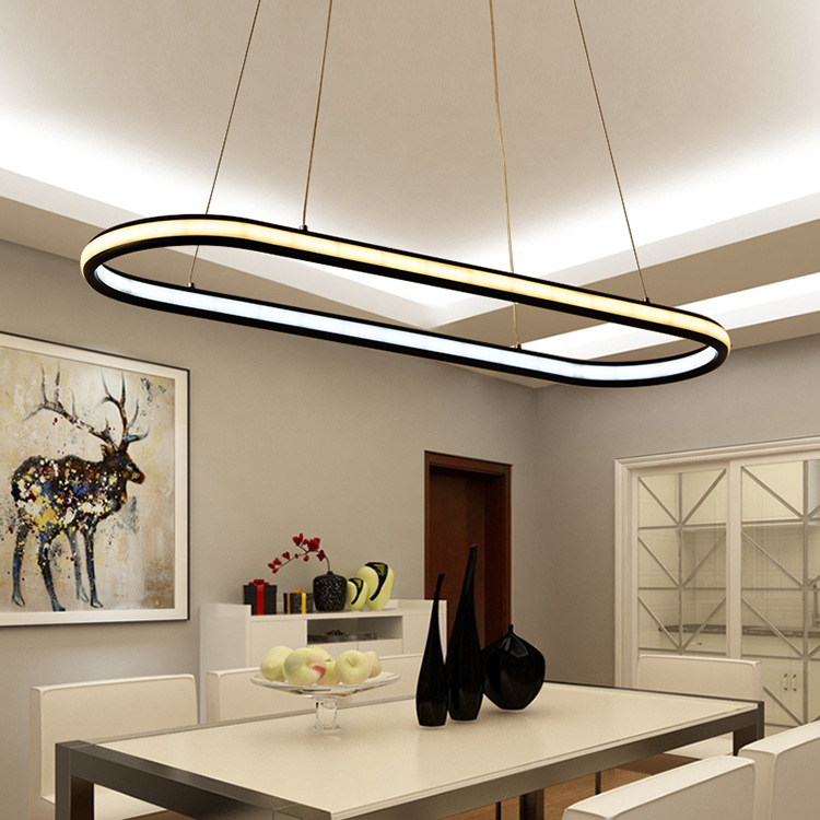 Us 144 54 27 Off Nordic Modern Office Lighting Led Hanging Line Lamps New Pendant Light Oval Ring For Dining Room Study Table Kitchen In