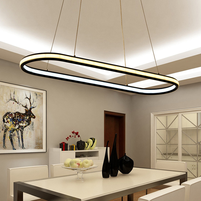Nordic Modern Office Lighting Led Hanging Line Lamps New Pendant Light Oval Ring For Dining