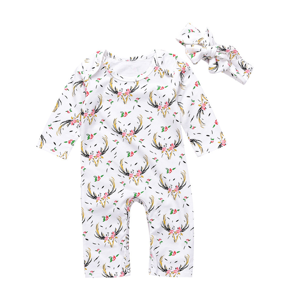 GRNSHTS 2Pcs Baby Boy Girl Floral Romper Deer Long Sleeve Onesies Jumpsuit with Headband