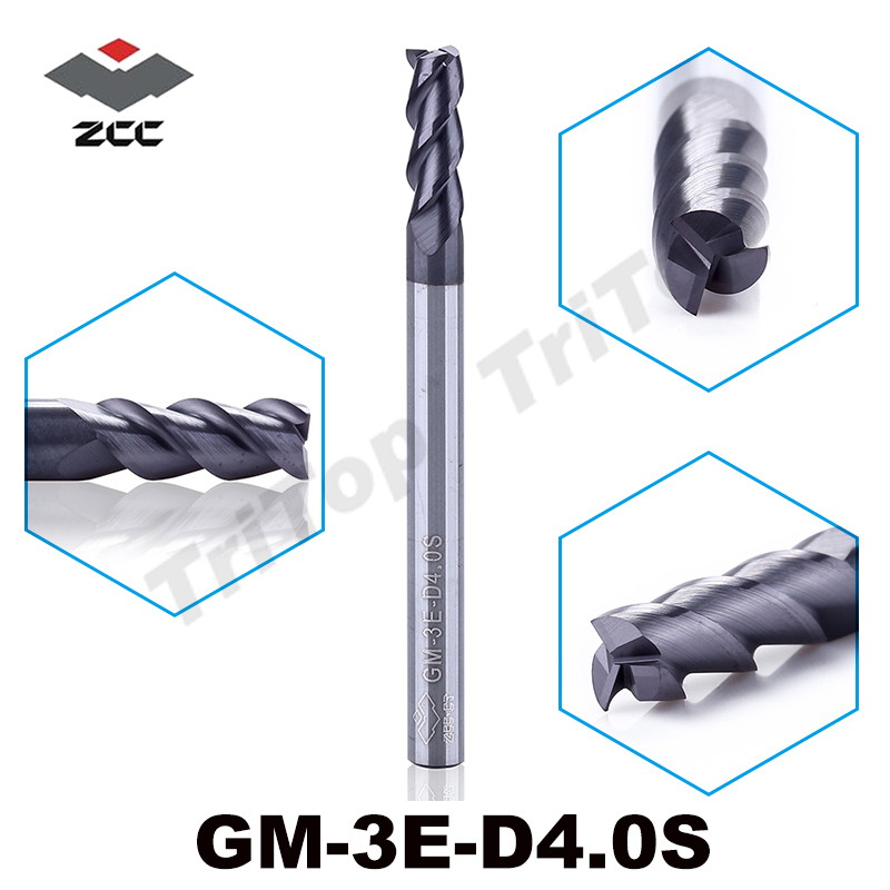 5pcs/lot ZCC.CT GM-3E-D4.0S cnc Carbide mills 3 flute flattened end mills with straight shank solid carbide end mills d 3mm zcc ct gm 4bl r7 0 4 flute ball nose end mills with straight shank long cutting edge end mills cutter