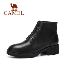 Camel Women Cow Leather Lace-up Classical Boots Daily Casual Square Heel Boots