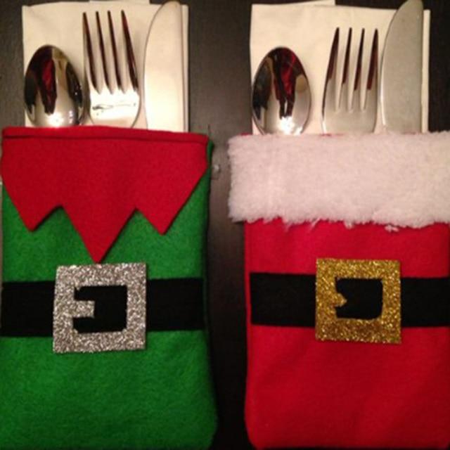 2pcs/set Christmas Dinnerware Decorations Bag Green Red Belt Silverware Holders Christmas Ornaments for Tableware & 2pcs/set Christmas Dinnerware Decorations Bag Green Red Belt ...