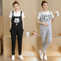 330 Spring And Summer Pregnant Women Shirt Cotton Short Sleeved Top Cartoon Printed Shoulder Strap Trousers
