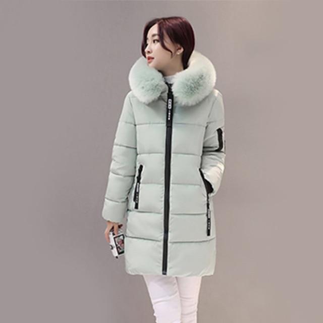 Light green parka coat