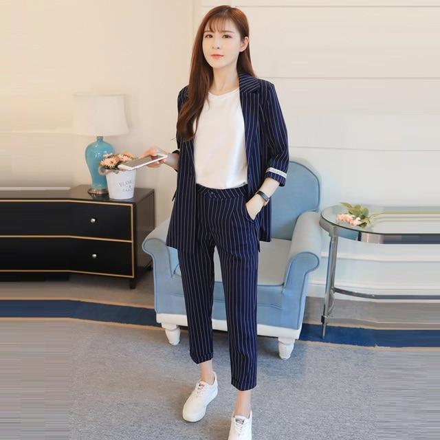 Corea Casual Elegante 2018 Moda Pantalones Runway Blazer Rayas dBwx1Xq