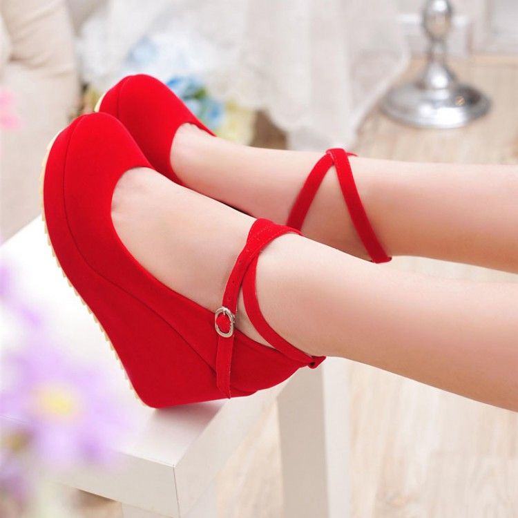 8cm heel Spring and autumn wedding shoes red high heels platform ...