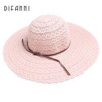 [DIFANNI] Sommer Hüte für Frauen Mode-Design Frauen Strand Sonnenhut Faltbare Krempe Strohhut