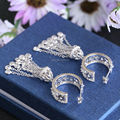 Америка и Европа эксклюзивная модная 925 стерлингового серебра CZ камень кисточкой серьги хооп белый позолоченные Партии ювелирных изделий для женщин