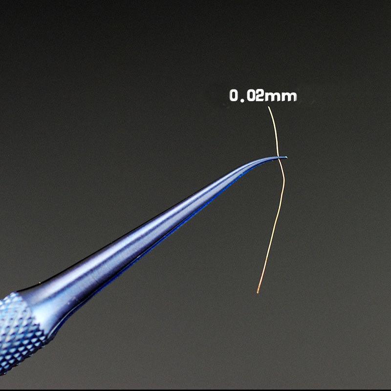 Super Fine Professional Titanium Alloy Tweezers 0.15mm Edge Precise Fingerprint Fly Line Picker Straight Bend